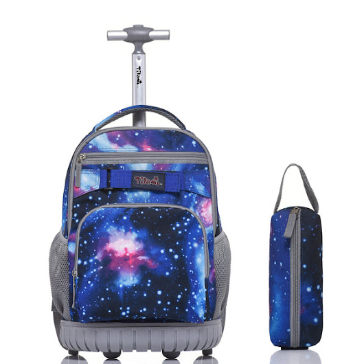 Tilami Rolling Backpack 18 Inch for School Travel with Pencil Case