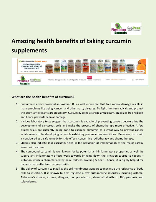 Amazing health benefits of taking curcumin supplements
