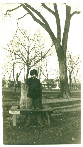 Child standing on bench
