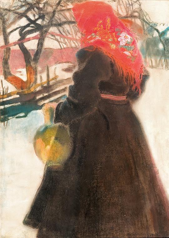 Alfons Karpiński (Polish, 1875-1961) Girl in a Red Scarf, 1905-1910. Pastel, watercolor, paper.