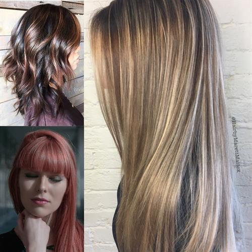 Multi-demensional brunettes with shiny shades of expresso or bordeaux. Blond highlights in shades of honey, mushroom, ginger spice. . Overlay with color gloss to enhance; plus a haircut (the long bob is still trending)!
