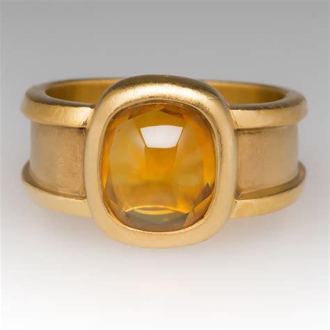 Custom Hand Made 22K Yellow Gold Citrine Ring