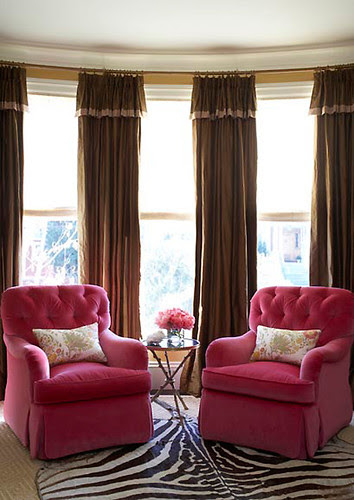 masucco warner pink velvet chairs via house to home