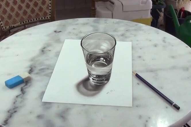 Vídeo impressiona ao mostrar desenho super realista de copo de água
