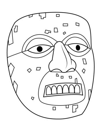 Dibujo De Máscara Azteca De Xiuhtecuhtli Para Colorear Dibujos