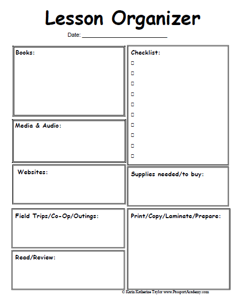Lesson organizer prep sheet1