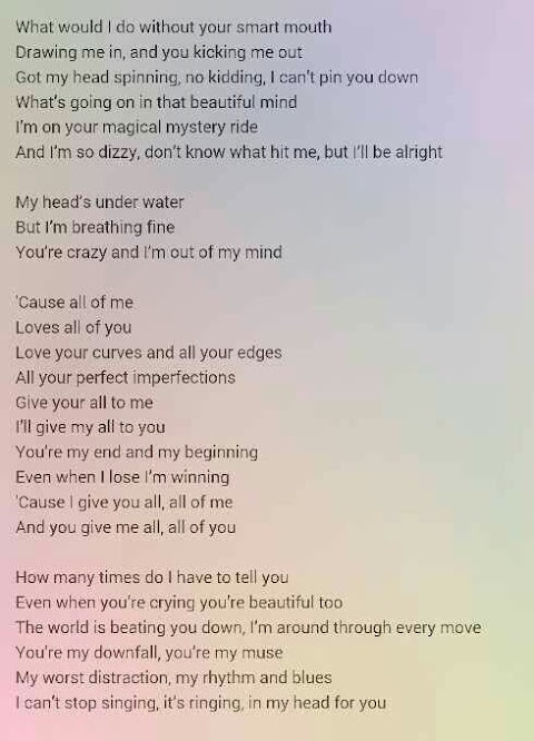 What Are The Lyrics To John Legend All Of Me