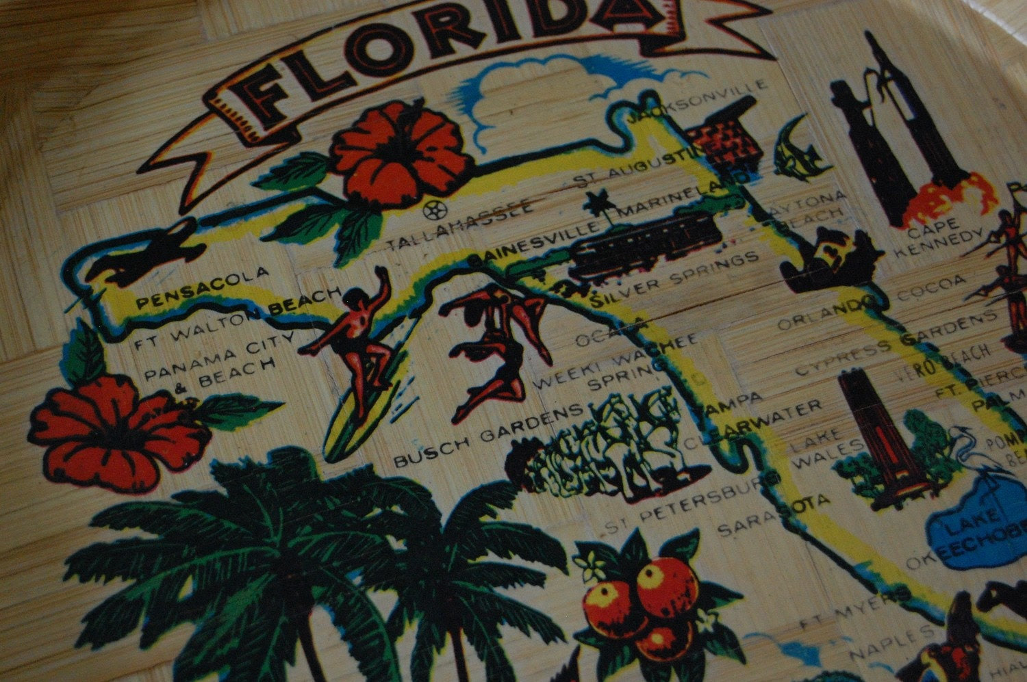 Vintage POOL SIDE Florida Souvenir Decorative Map Tray SALE