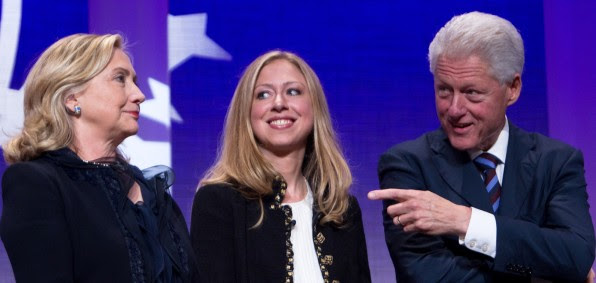Hillary, Chelsea and Bill Clinton