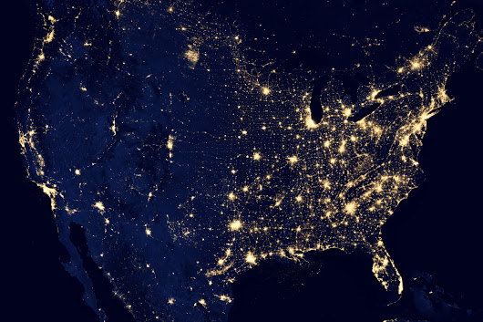 City Lights of the United States, 2012 This  image... - Maps on the Web
