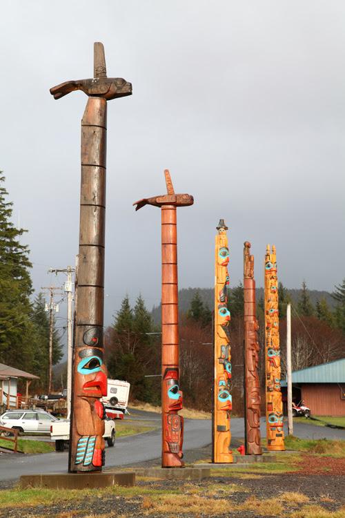 totem poles, Hydaburg, Alaska
