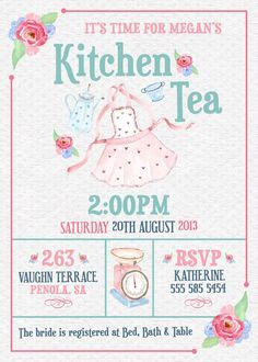 Kitchen Tea Invitation | Our Designs | Pinterest | Invitations ...