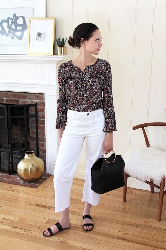 Floral Print Flare Sleeve Top White Jeans Raw Hem Culotte Cropped Denim Metal Ring Bag Low Bun Spring Outfit LC Lauren Conrad Collection Kohls Le Fashion Blog