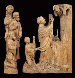São Erardo eleva a hóstia consagrada, escultura em madeira de tília da segunda metade do século XIV atribuída ao ateliê ducal estiriano, Galeria Eslovena Narodna, Lubiana