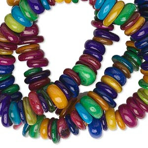 Bead, Mother-of-pearl Shell (dyed), Multicolored, 6x1mm-9x4mm Freeform Rondelle. Sold Per 15-inch Strand