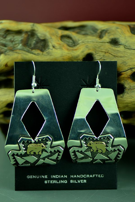 Navajo Gold and Silver Bear Earrings