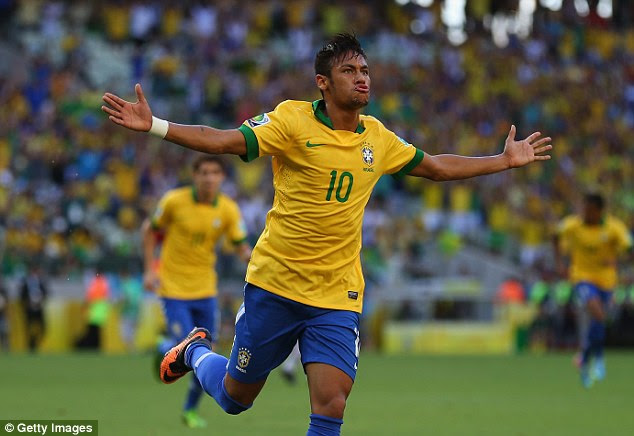 Smashing: Neymar scored the only goal of the game for Brazil after his first-half volley