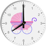 """Baby Girl Carriage 8"""" Round Wall Clock with Numbers"""