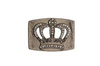 Rhinestone Crown Silver Buckle
