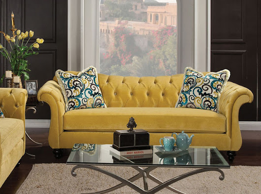 Antoinette Sofa in Royal Yellow by Furniture of America