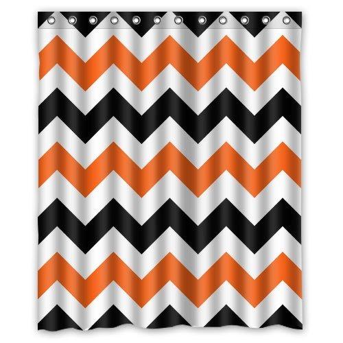 Best Orange Chevron Shower Curtain