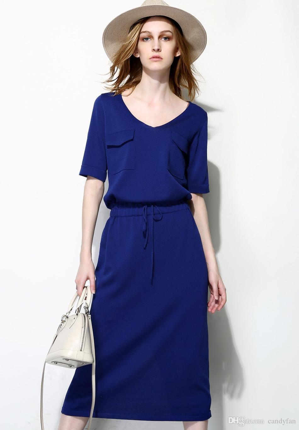 2015 lady summer dresses smart casual dresses v neck