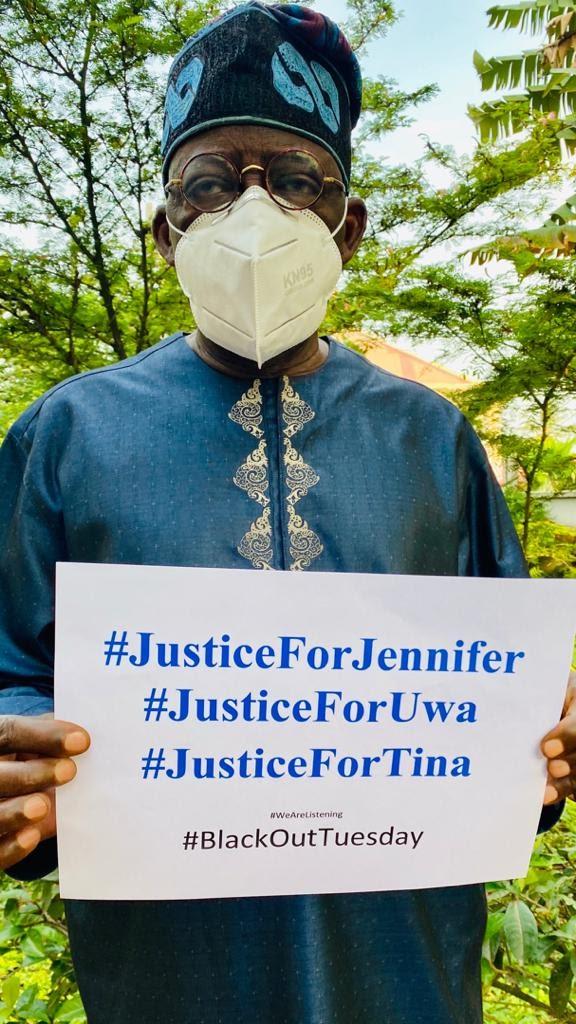 Rape: Tinubu With A Placard, Demands Justice For Uwa, Tina And Jennifer (Photo)
