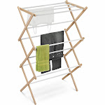 Honey-Can-Do Folding Wood Accordion Drying Rack, White/Natural