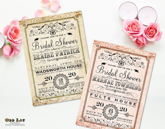 Fancy Bridal Shower Invitation Digital or Printed Romantic