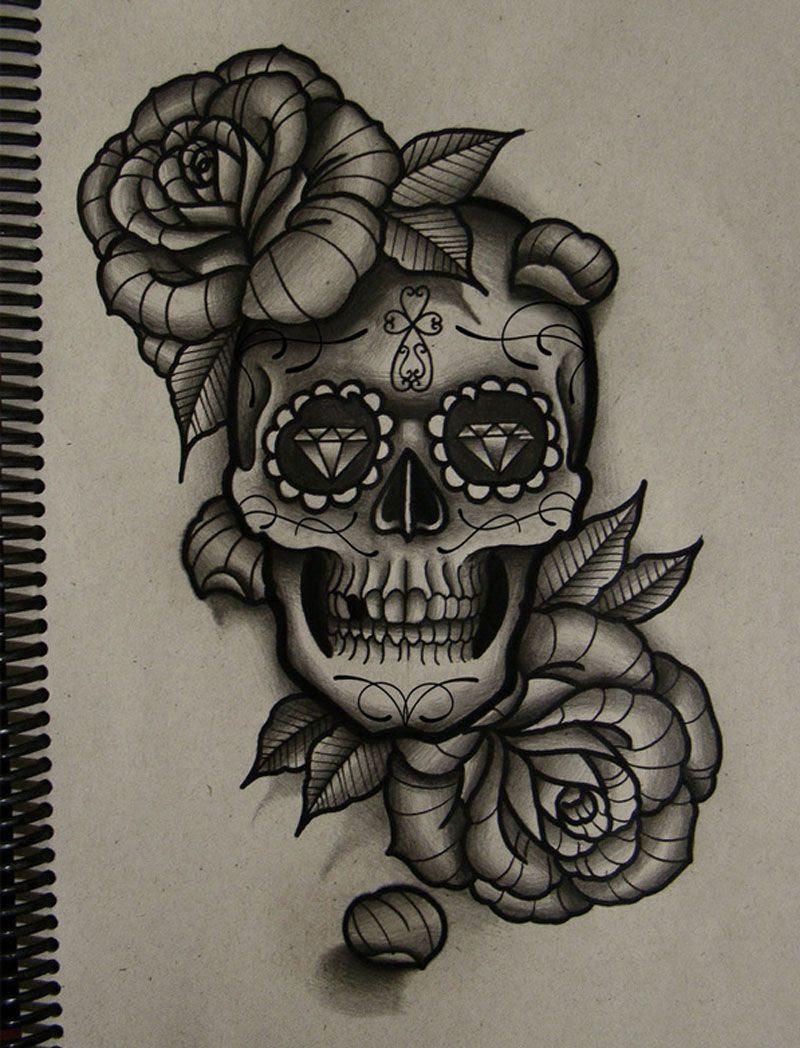 Sugar Skull And Rose Drawing At Getdrawingscom Free For Personal