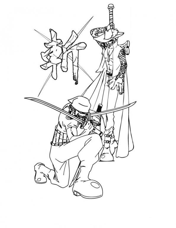 Zoro Et Oeil De Faucon Est Un Coloriage De One Piece