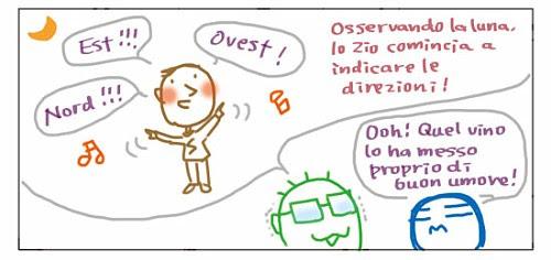 Est!!! Nord!!! Ovest!!! Osservando al Luna, lo Zio comincia a indicare le direzioni! OoH! Quel vino lo ha messo proprio di buon umore!
