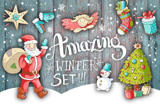 Cute doodle Xmas and New Year by Dinkoo | Design Bundles