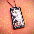 Mummified Mummy Domino Pendant - BOO - Hauntingly Halloween - Vintage Altered Jewelry Pendant - Dots 6/1 7 - A Tiny Work of Awesome