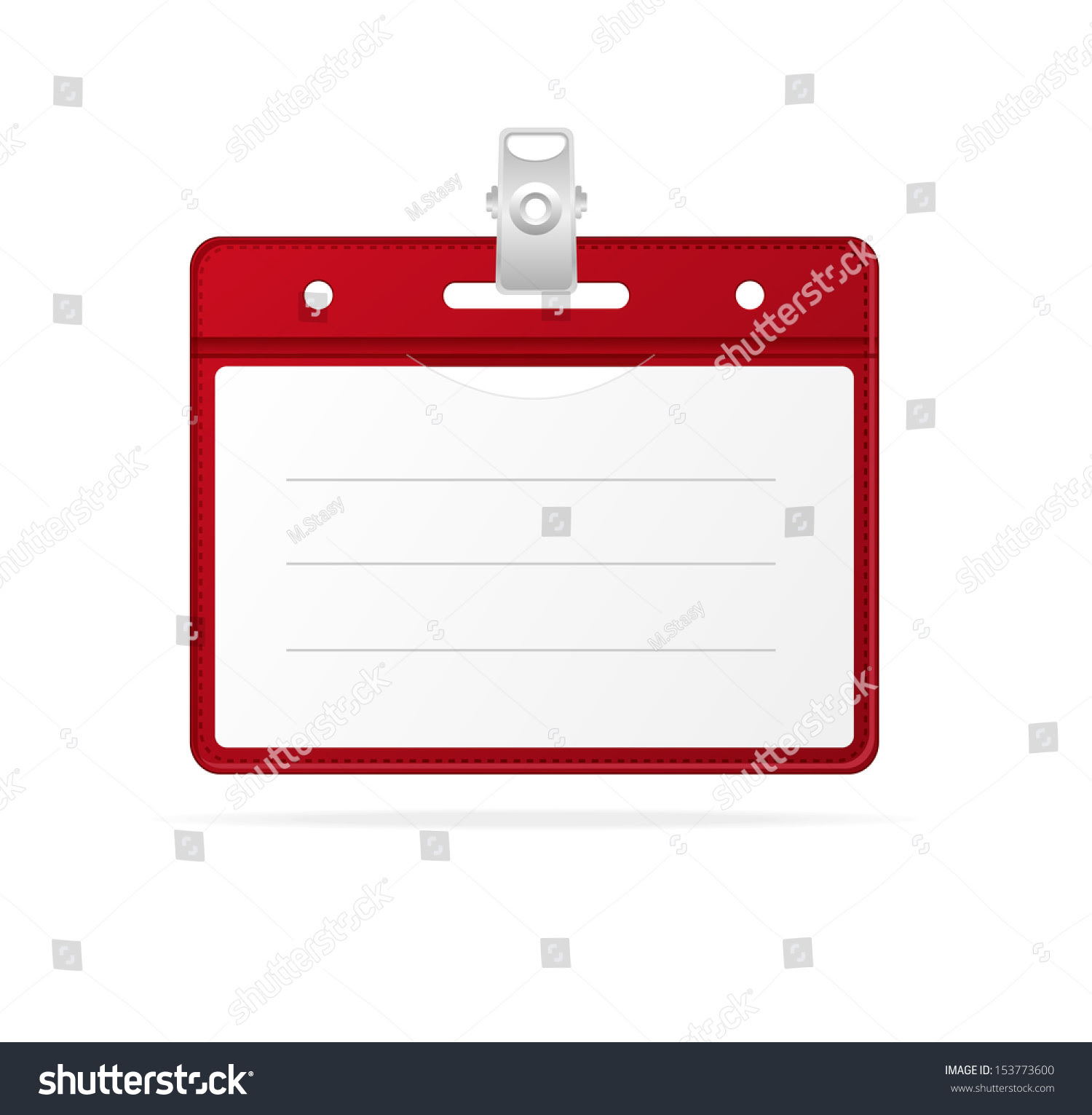 Blank Id Identification Card Badge Isolated Stock Vector 153773600 ...
