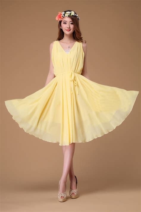 yellow V neck Short Evening Wedding Party Dress