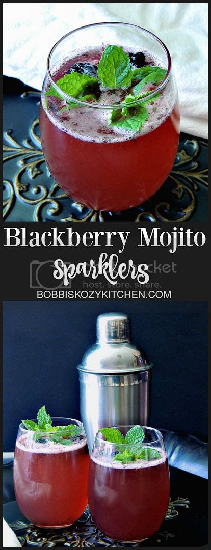 Blackberry Mojito Sparklers - Blackberries, lime, and mint all play together in this light, bright, and bubbly cocktail. From www.bobbiskozykitchen.com