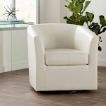 Wade Logan Blankenship Faux Leather Swivel Barrel Chair Color: Ivory