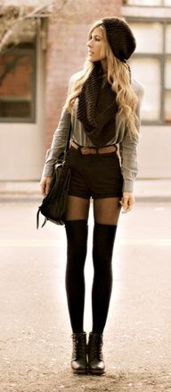 slouch beanie. oversized scarf. high waist shorts. black pantyhose. knee high socks. lace up boots.
