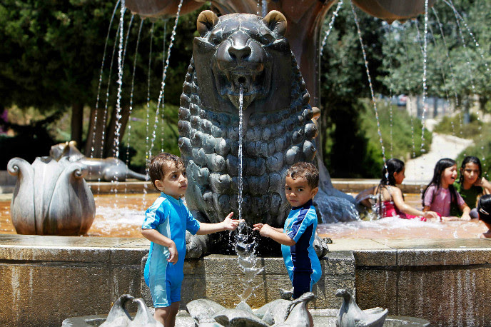 Lions Fountain in Jerusalem's Bloomfield Park. Photo by Miriam Alster/FLASH90 [F130707MA02.JPG]