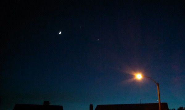 A photo of the Moon, Jupiter and Venus that I took with my Android smartphone in Los Angeles County...on June 20, 2015.