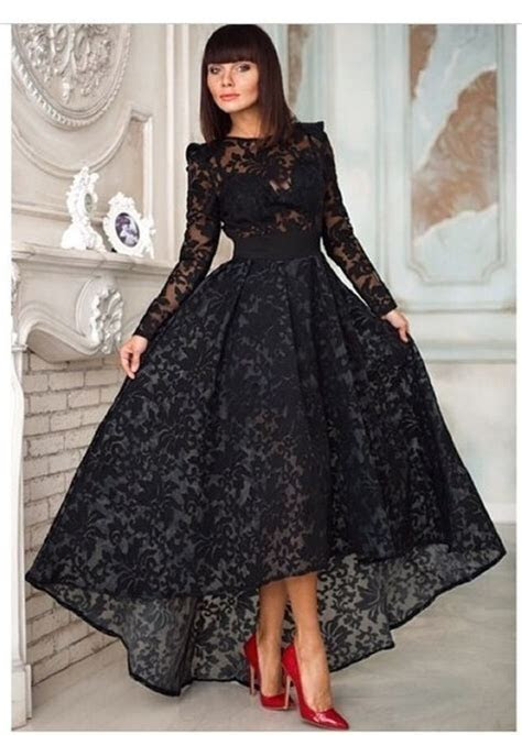 New Black Lace Prom Dresses Short Front Long Back Formal
