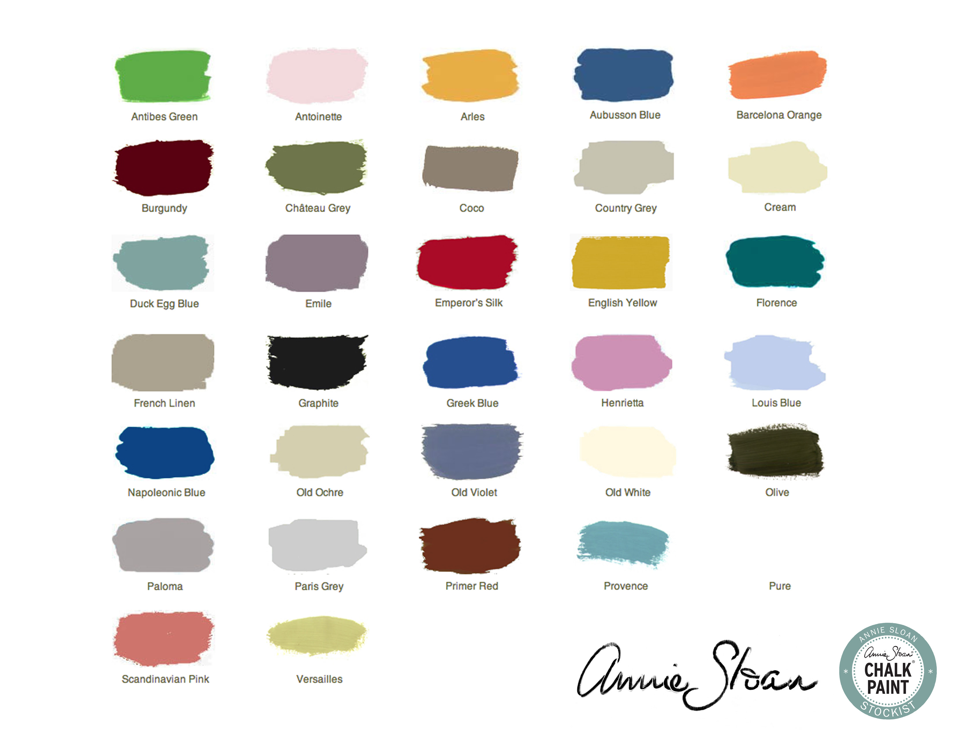 Annie Sloan Chalk Paint Colours Swatches