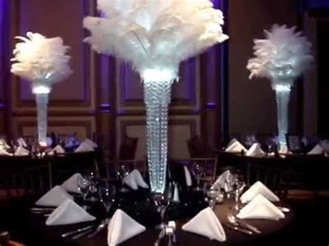1920's Gatsby Inspired Ostrich Feather Centerpieces by