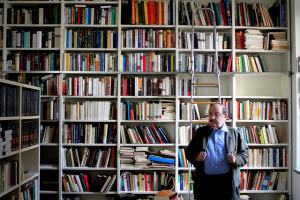 Umberto Eco in library