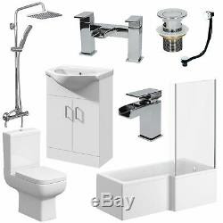 Complete Bathroom Suite 1500mm Rh L Shaped Bath Wc Basin Vanity Unit Taps Shower