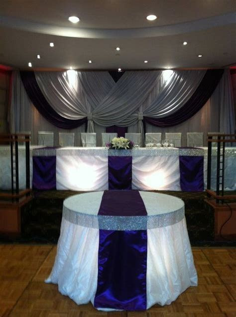 Wedding Reception: Head table .. bling ribbon table