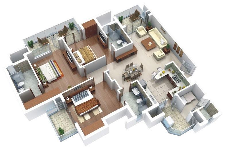 25 Three Bedroom House Apartment Floor Plans