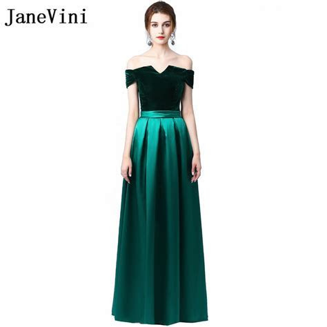 JaneVini Elegant Dark Green Long Bridesmaid Dresses Velvet