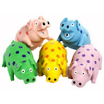 Multipet International 61006 Polka Dotted Latex Pig Plush Filled Dog Toy